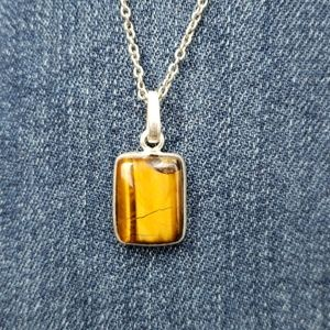 Tiger's Eye Pendant with sterling silver chain